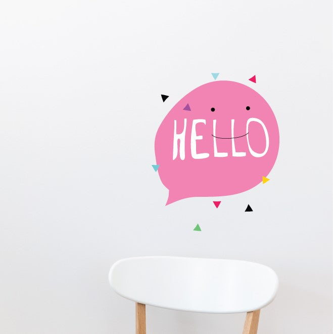 Hello Pink Bubble Wall Sticker