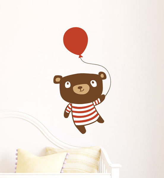 A Happy Bear with Balloon Wall Sticker
