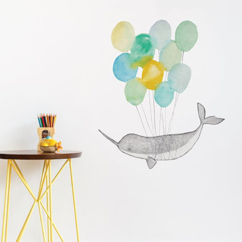 Narwhal on Balloons Wall Sticker