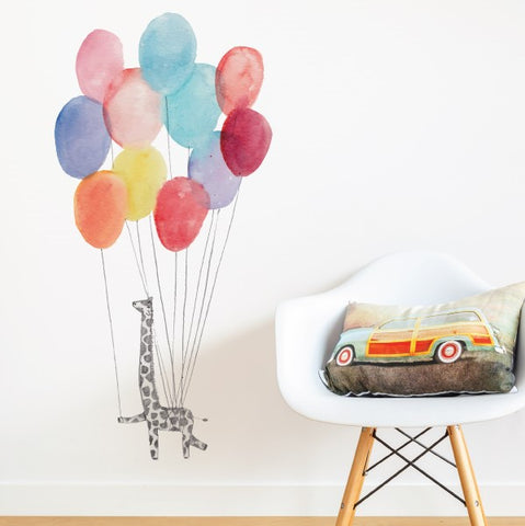 Giraffe on Balloons Wall Sticker