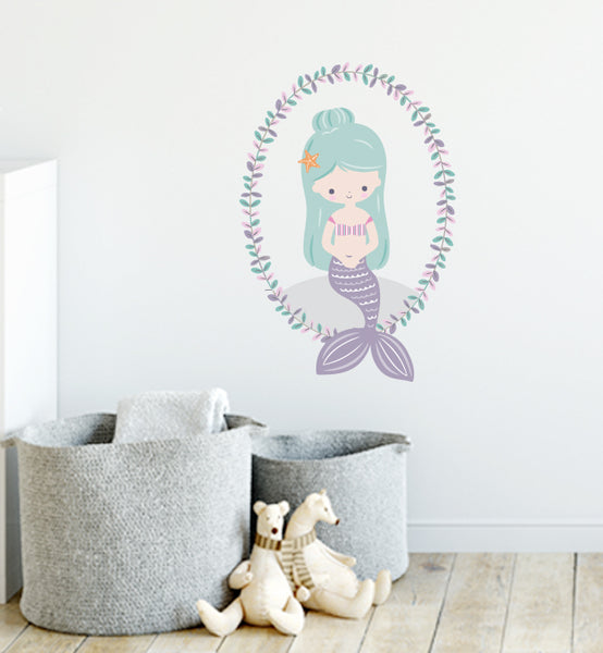 Mermaid Lavender Wreath Wall Sticker