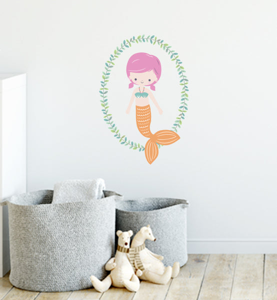 Mermaid Orange Wreath Wall Sticker