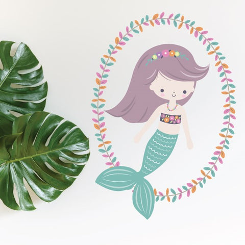 Mermaid Teal Wreath Wall Sticker