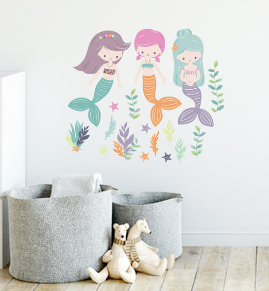 Three Mermaids Wall Sticker