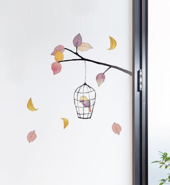 Bird Cage and Tree Wall Sticker