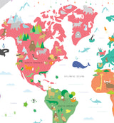 Animals of the World Map Wall Sticker
