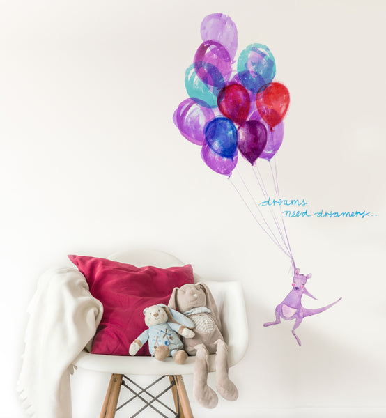 Dreams Need Dreamers Kangaroo with Balloons Wall Sticker