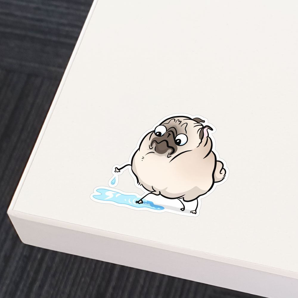 Puddle White Pug Sticker Decal
