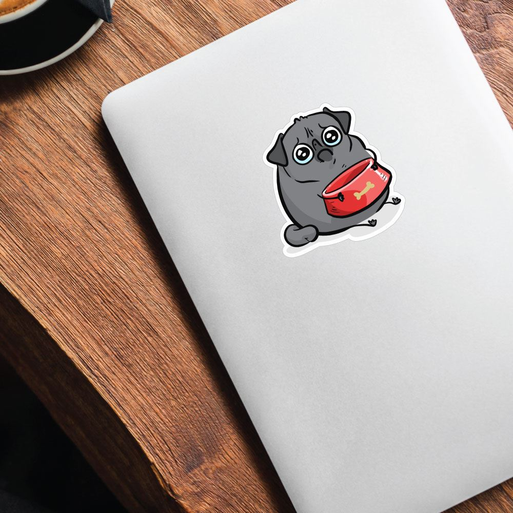 Sad Hungry Black Pug Sticker Decal