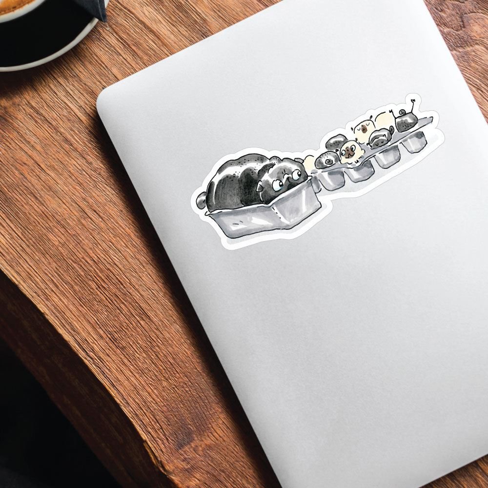 Freya Fills The Pan Pugs Sticker Decal