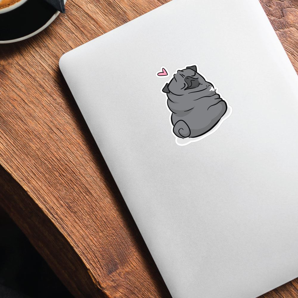Love Rolls Black Pug Sticker Decal