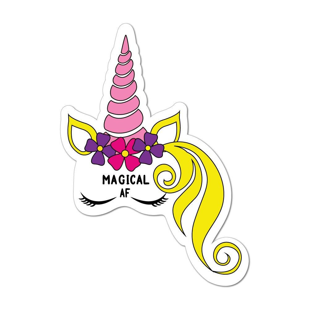 Magical Af Unicorn Horse Flowers Pink Blonde Dreams Magic Car Sticker Decal