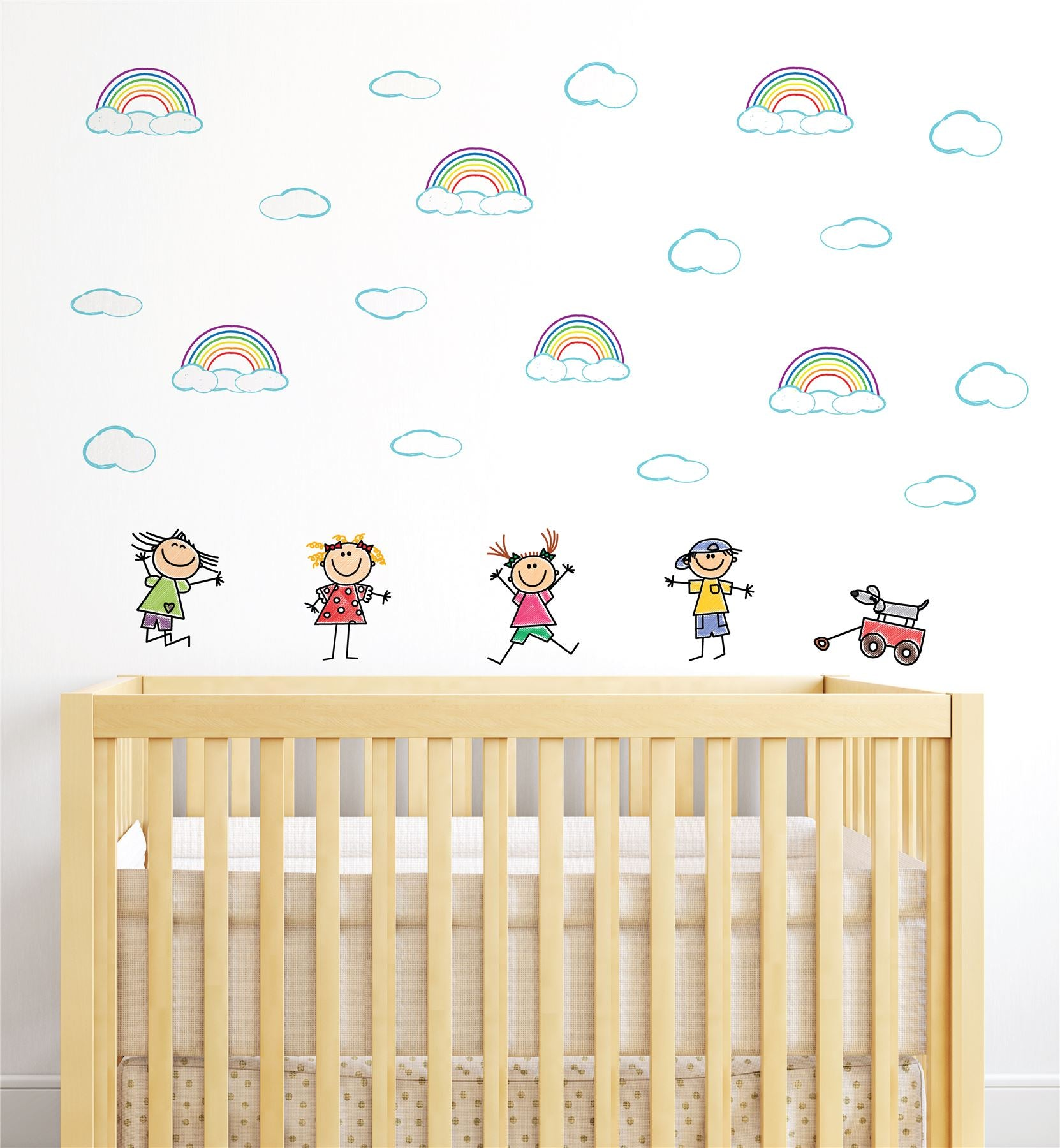Children Playing Rainbow (Collection Of 20) Wall Sticker Decal