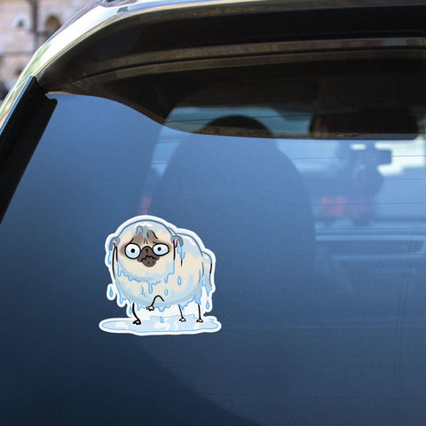 Rain White Pug Sticker Decal