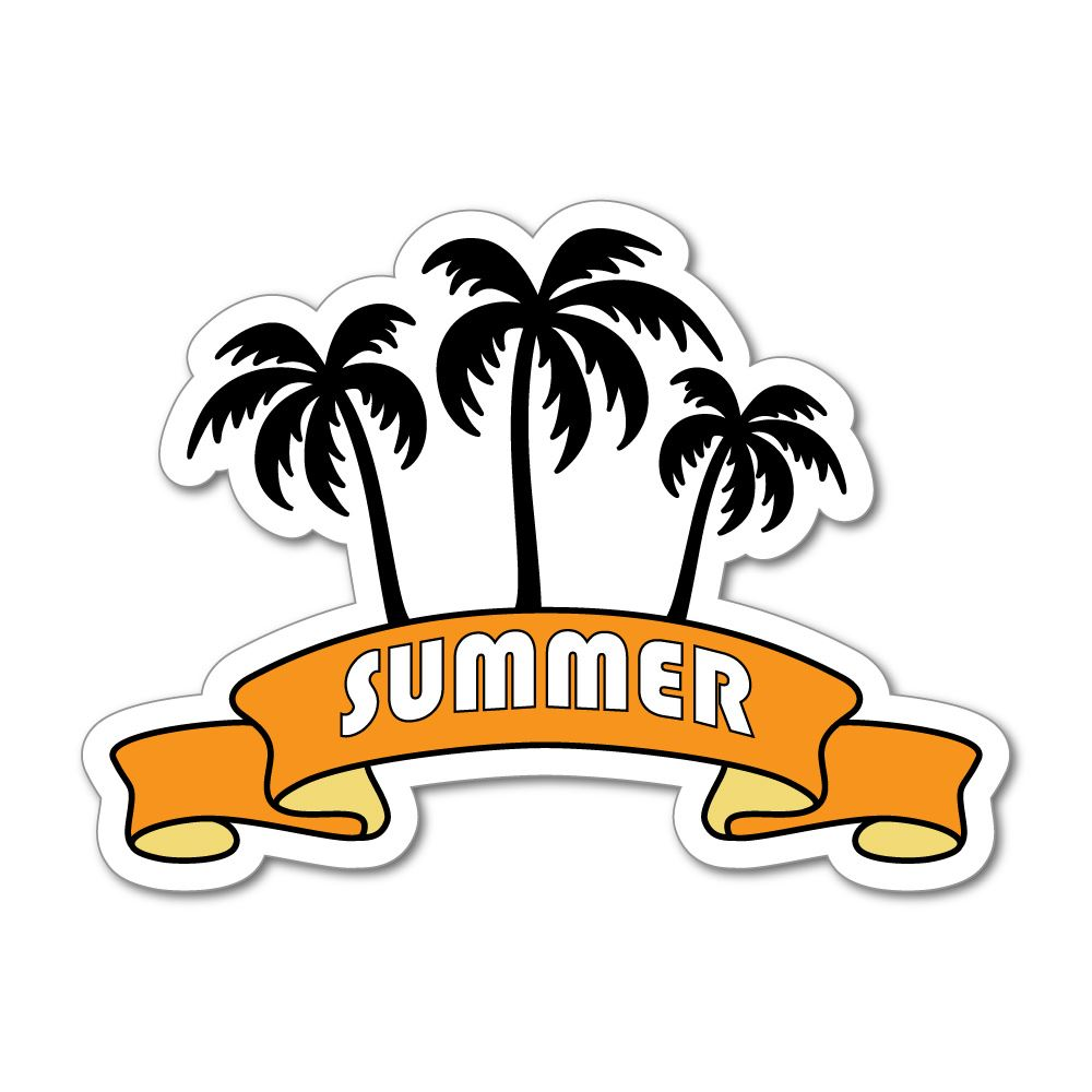 Summer Holidays Banner Palm Trees Beach Sun Happy  Car Sticker Decal