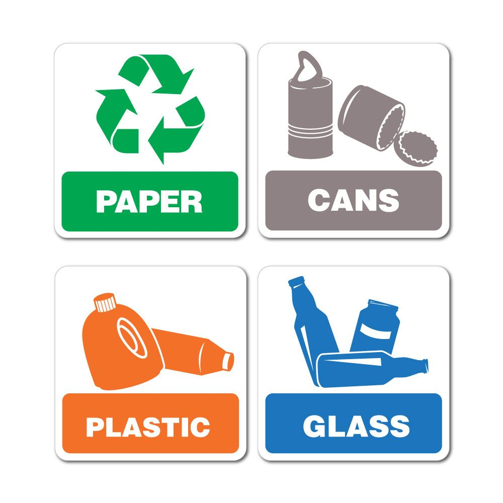 Recycling Paper Cans Plastic Glass Sticker Decal