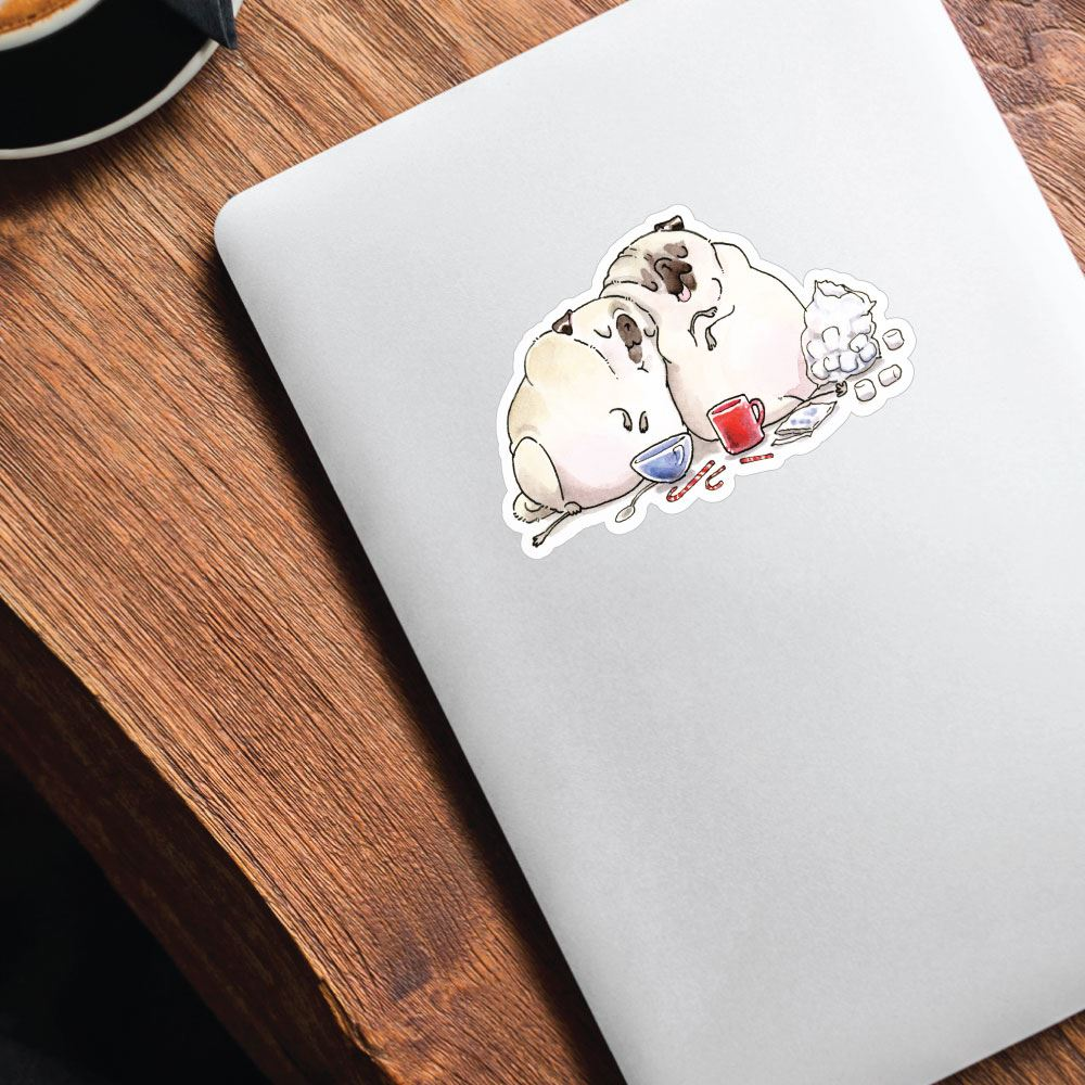 Hot Choco And A Movie Pugs Sticker Decal