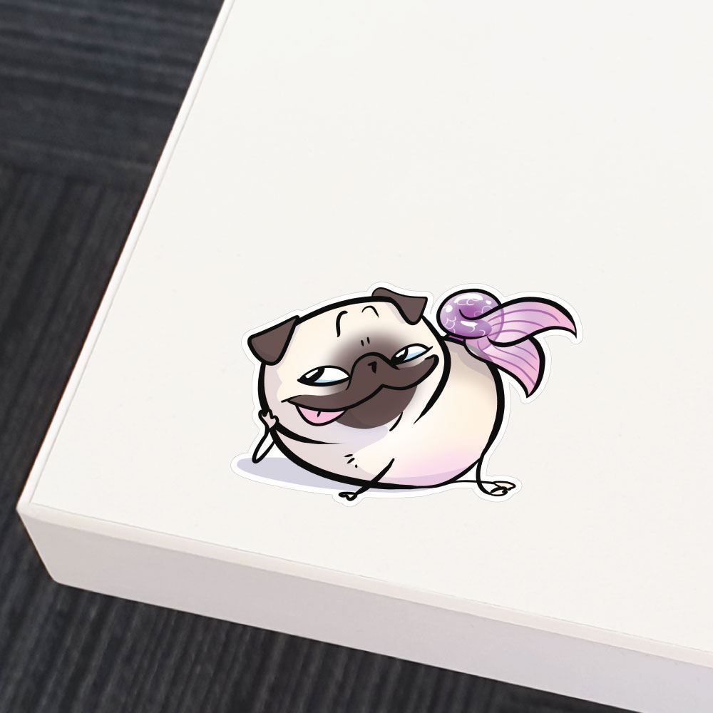 Pug Mermaid Sly White Sticker Decal