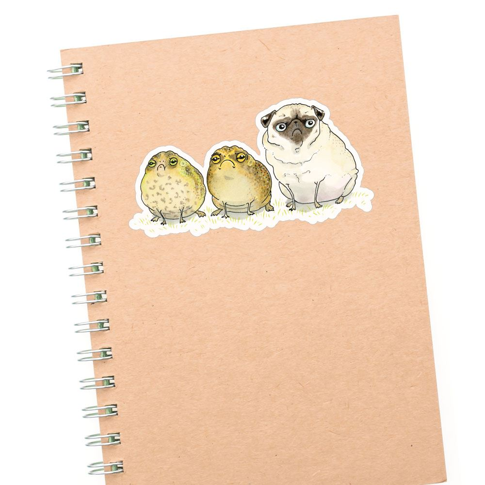 Frogs And Pug Being Glum Sticker Decal