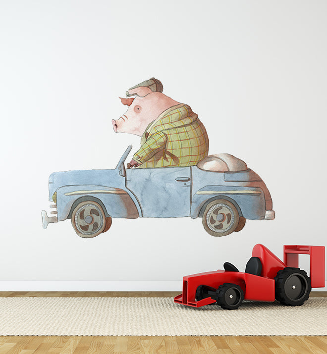Pig Driving Car Wall Sticker