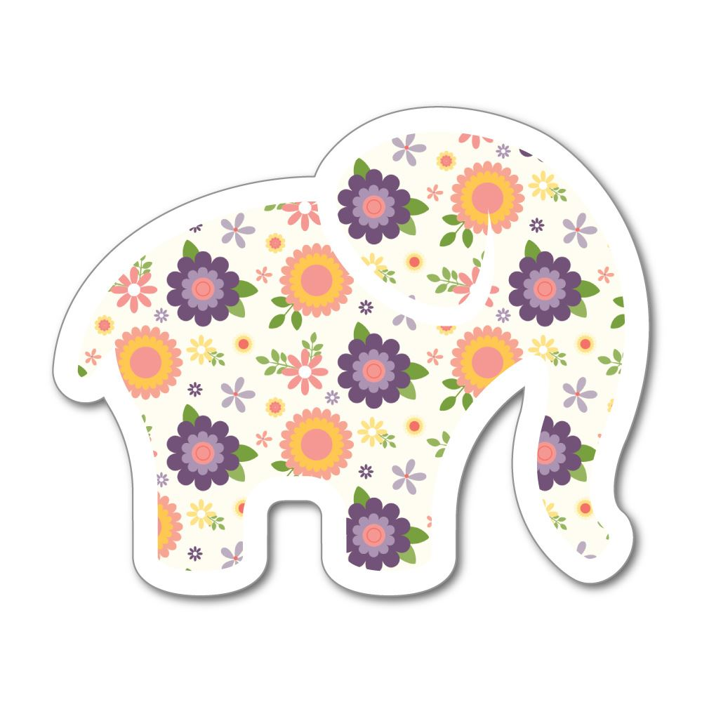 Flower Elephant Sticker Decal