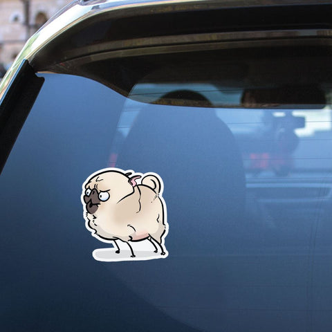Fury White Pug Sticker Decal