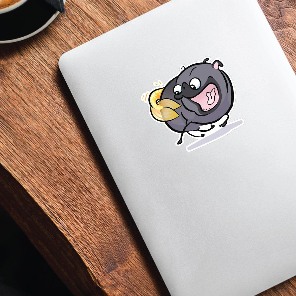 Pug Mermaid Tail Chaser Black Sticker Decal
