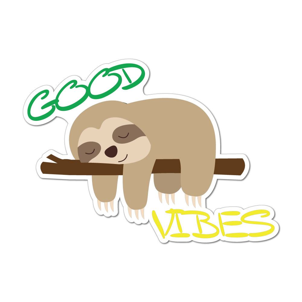Good Vibes Sleepy Sloth Car Sticker Decal