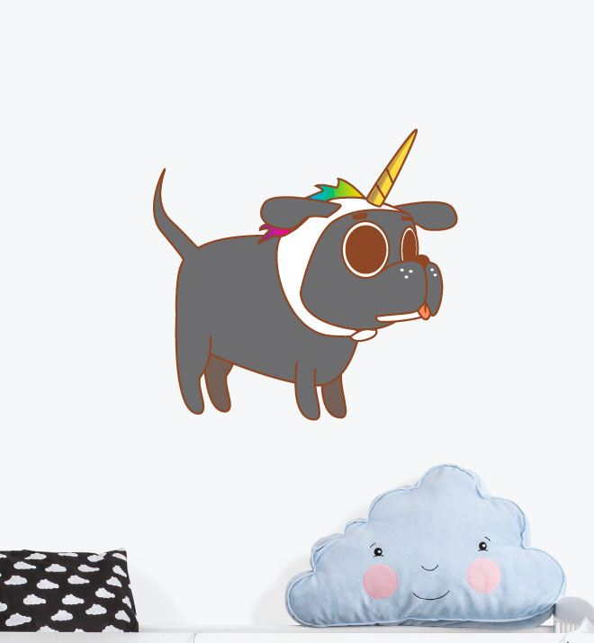 Dog With Unicorn Hat Wall Sticker Decal