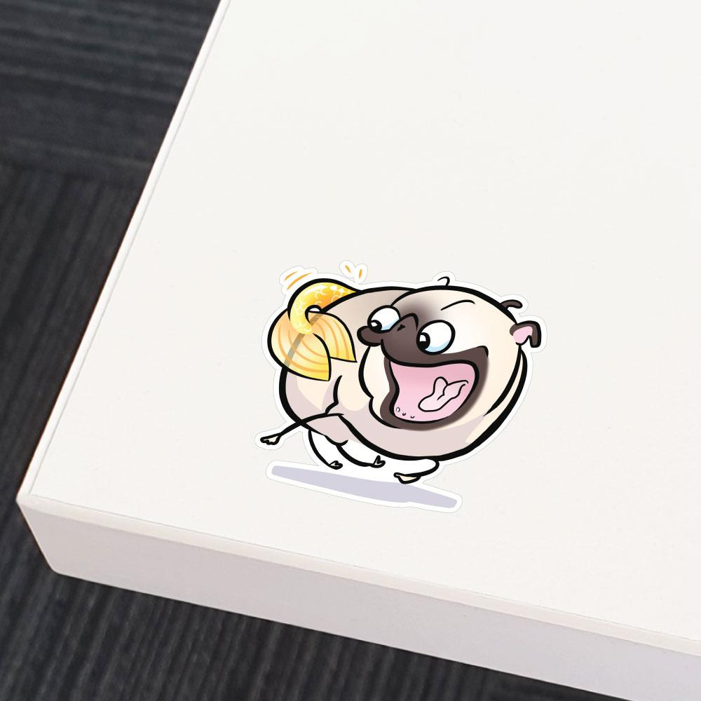 Pug Mermaid Tail Chaser White Sticker Decal