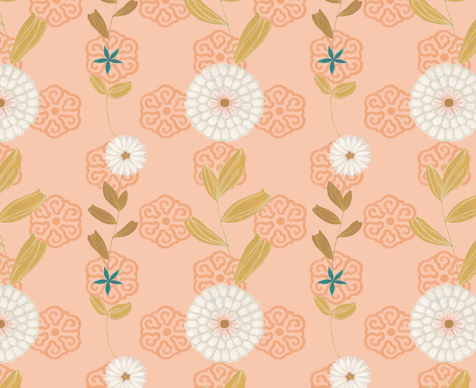 Peach White Floral Wallpaper