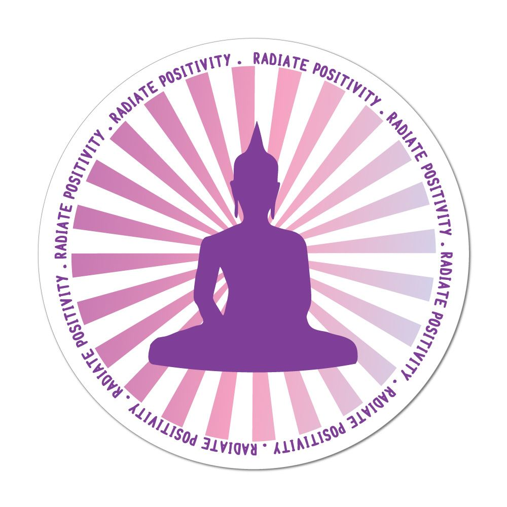 Radiate Positivity Buddha Good Vibes Meditate Yoga Hippie Car Sticker Decal