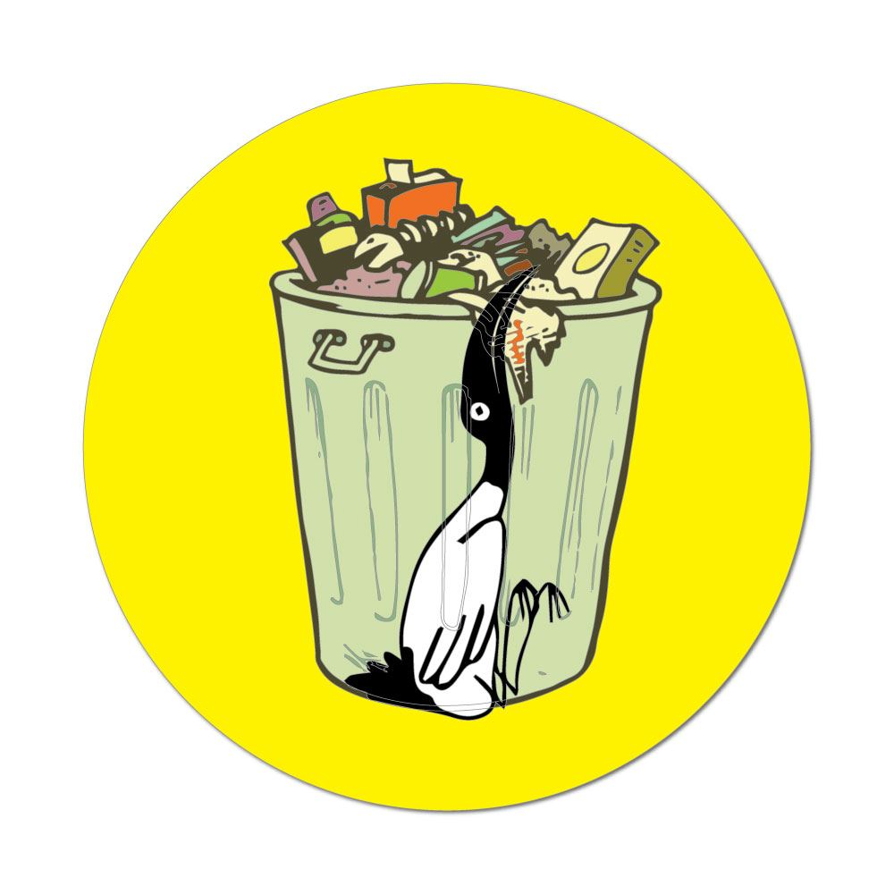 Derpy Bin Chicken With Rubbish Car Sticker Decal