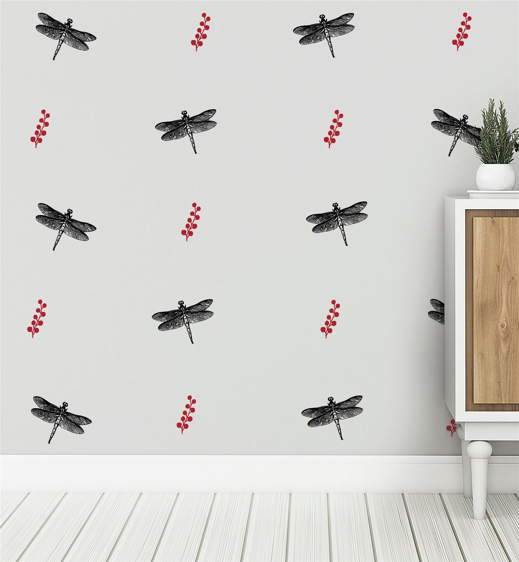 Dragonflys And Berries (Collection Of 22) Wall Sticker Decal