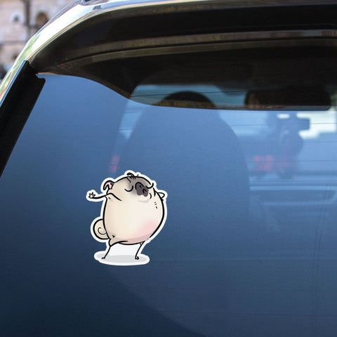 Talk To The Hand White Pug Sticker Decal
