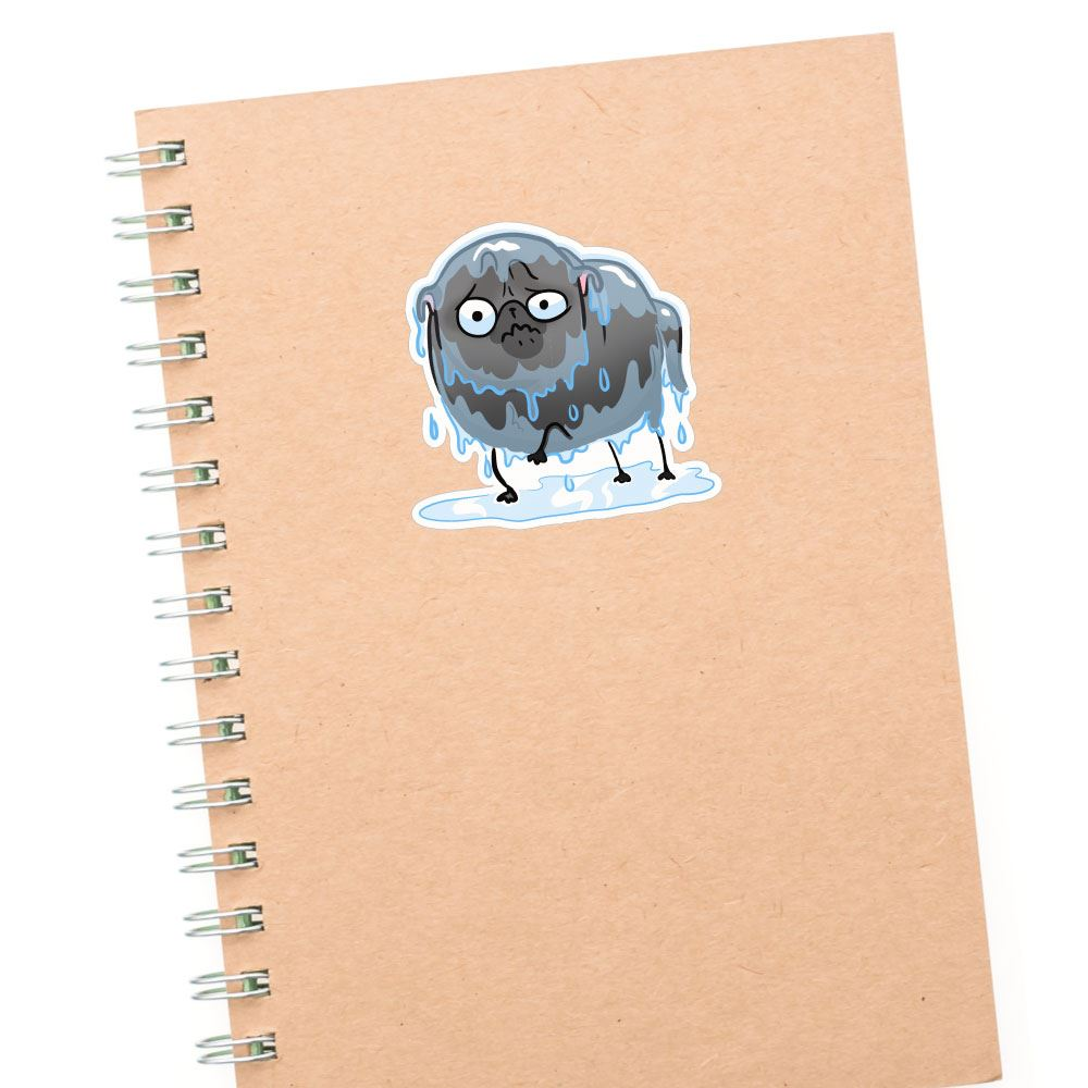 Rain Black Pug Sticker Decal