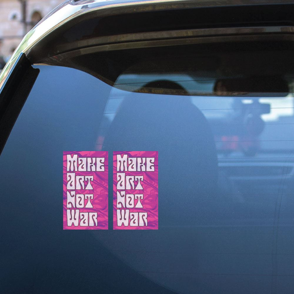 2X Make Art Not War Sticker Decal