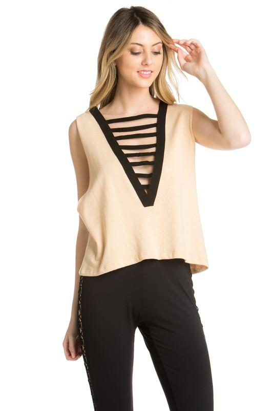 Lace the Bar Tank - Apricot