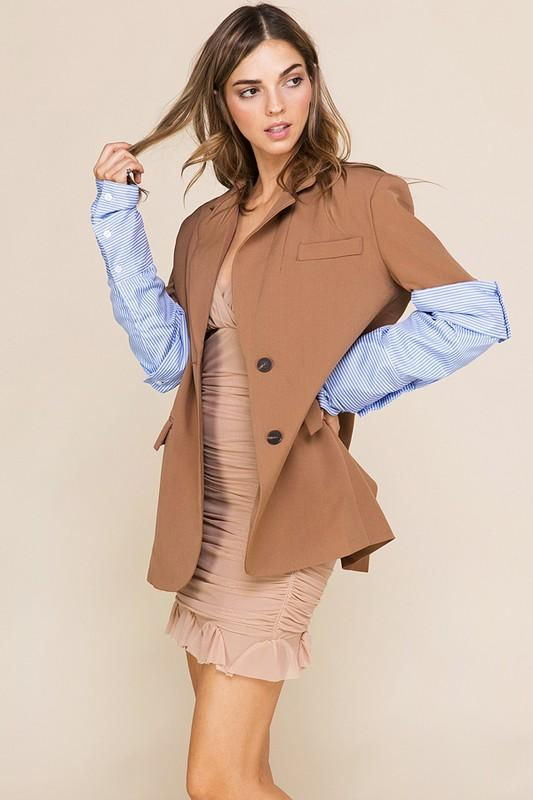 Utilize Your Blazer - Taupe/Blue
