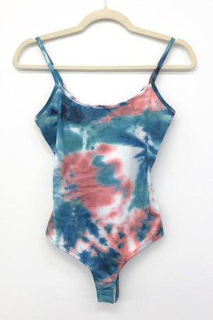 Tie Dyed Tongue Tied Bodysuit - Teal