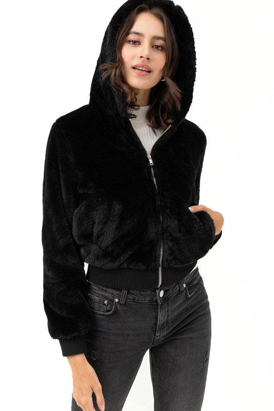 In A Furry Crop Coat - Black