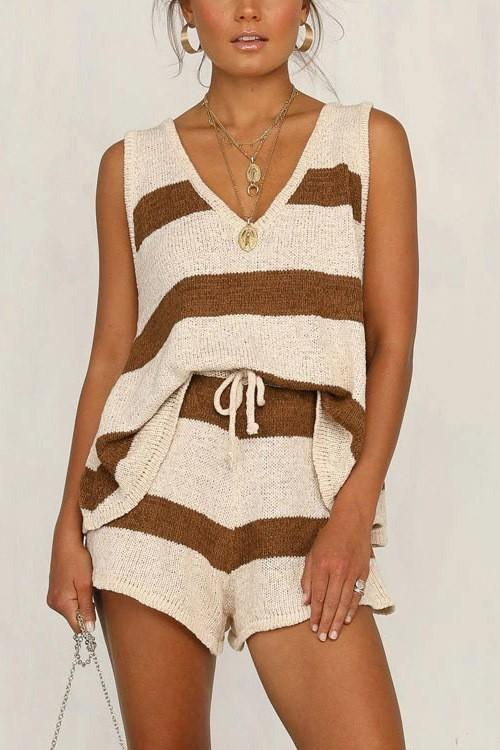 Knit Going Anywhere Stripe Set - Cream/Burgundy