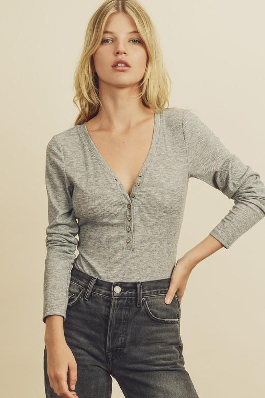 Cute as a Button Bodysuit - Heather Grey