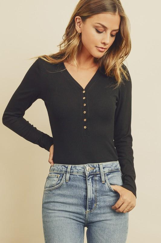 Cute as a Button Bodysuit - Black