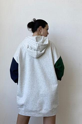 Color Blocked Out Hoodie Dress - Grey/Navy/Green