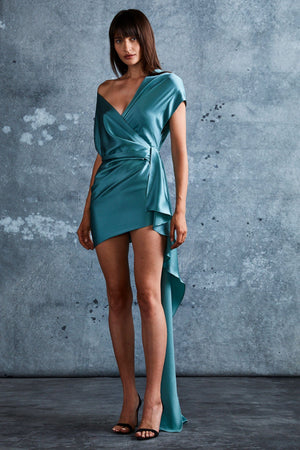 MICHELLE MASON | Cerulean Silk Wrap Mini Dress + Train