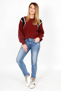 FRAME | Crop Balloon Crew Sweater - Calvary Red