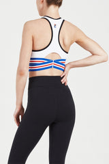 P.E NATION | Full Toss Crop Bra - White + Blue