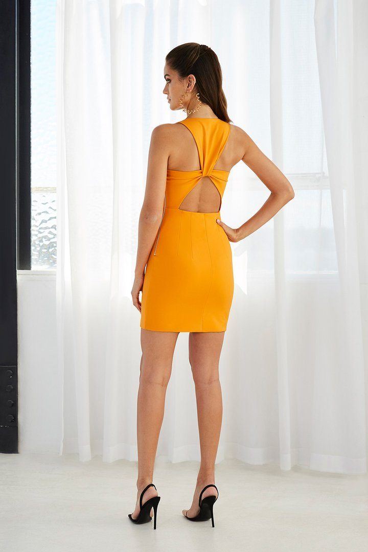 BY JOHNNY | Twist Back Mini Orange Dress