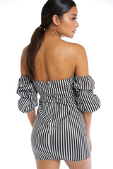 Derby Puff Sleeve Dress - Black + White